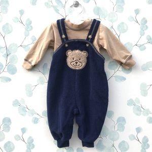 Teddy Bear Navy Blue Fleece Overalls & Tan Top